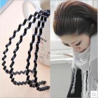 韩国塑料洗脸头箍防滑带齿黑色细波浪发箍发卡发饰头饰压发