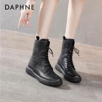 达芙妮2020秋冬新款真皮马丁靴女低跟欧美复古系带休闲舒适短靴