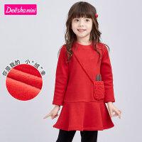 【券后�A估�r:71】笛莎童�b女童�B衣裙2020冬新款�和�甜美可�叟�����童趣�B衣裙