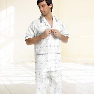 金丰田男士睡衣短袖纯棉 夏季款 中青年全棉布格子休闲舒适可外穿薄款家居服套装1584