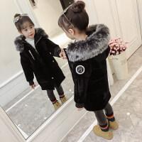 女童大衣女童冬装棉衣外套2018新款金丝绒儿童装中长宝宝加绒加厚棉袄MYZQ67