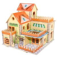 儿童3D立体拼图亲子益智玩具木质拼插汽车模型积木制小屋建筑儿童diy