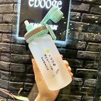 吸管水杯女玻璃杯学生创意可爱便携带刻度韩版牛奶杯磨砂网红杯子