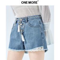 【夏季热卖清仓 到手价:179】蕾丝拼接牛仔短裤