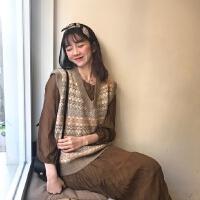 春装韩版女装复古菱格V领针织马甲时尚套装褶皱长袖连衣裙两件套