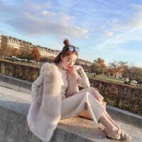 2018新款仿狸毛皮草马甲女冬中长款 韩版皮毛一体毛毛背心外套