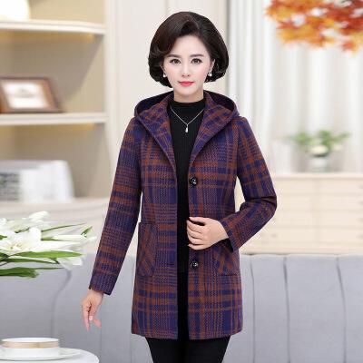 中老年女装秋冬中长款毛呢子大衣中年妈妈装加厚大码格子洋气外套   批量拍下不发货