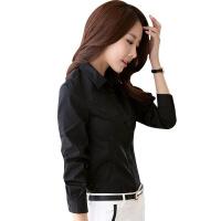 加绒衬衫黑色女长袖职业正装寸衫加厚大码新款女士白衬衣保暖冬季