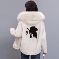 短款狐狸毛领女装外套2018秋冬皮毛一体羊羔毛皮草大衣