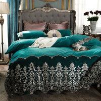 床上四件套冬季珊瑚绒蕾丝被套双面绒水晶绒床单法兰绒法莱绒欧式定制 伊士曼 绿