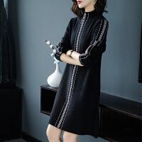 大码女装衫洋气减龄连衣裙200斤胖秋冬新款针织羊绒打底衫