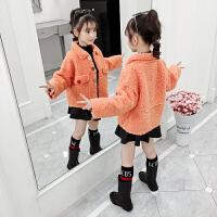 2019新款韩版女孩洋气短款深秋上衣中大童女童冬装羊羔毛外套