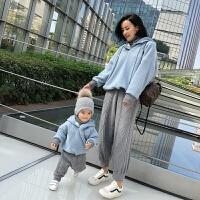 婴童装婴儿子装卫衣加绒上衣冬季母女装母子装卫衣送脖套 (预计1月27号到仓)