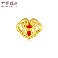 母亲节礼物 六福珠宝如意黄金耳钉珐琅工艺足金耳环单只款*计价GDGTBE0041