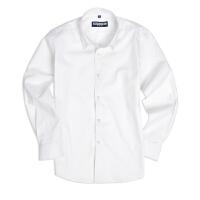 儿童白衬衫男童长袖纯棉打底春秋粉蓝白色衬衣