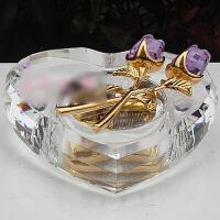 玫瑰花心形八音盒音乐盒水晶生日礼物女生创意礼品送女友情人节礼物