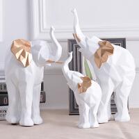 北欧创意现代简约几何一家三口大象摆件客厅卧室书房家装饰品摆设家居装饰摆件
