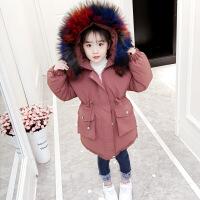 女童棉衣新款韩版冬季中长款外套儿童加厚宝宝洋气冬装潮 铁锈红色 100cm