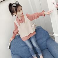 2019秋装新款韩版女孩长袖上衣春秋儿童时尚童装女童洋气衬衫套装