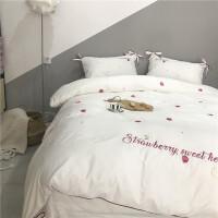 粉色草莓四件套全棉爱心少女公主风被套蝴蝶结刺绣长绒棉床上用品定制
