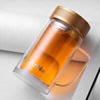 双层玻璃杯带手柄 带盖耐热防烫时尚办公水杯抖音