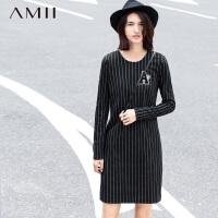 【AMII 超级品牌日】AMII[极简主义]冬长袖竖条纹字母绣章修身大码连衣裙11581642