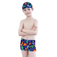青少年中大童男孩平角泳裤泳帽泳镜套装儿童游泳衣男童游泳裤