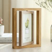 创意轻奢北欧个性铁艺相框摆台ins木质双面相架简约现代摆件6寸六