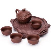 【新品】整套紫砂功夫茶具套装一壶四杯旅行便携办公茶具干泡茶盘茶壶 紫砂金蟾旅行茶具 6件