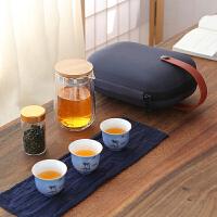 唐丰收纳便携旅行茶具双层过滤玻璃泡茶壶办公户外快客杯一壶三杯