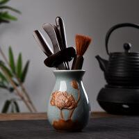 【好货】陶瓷茶具茶盘配件功夫茶道套装陶瓷黑檀木茶道六君子茶艺套装