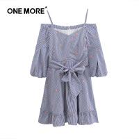 【520告白季】ONEMORE夏季新款条纹刺绣一字领喇叭袖收腰蝴蝶结连衣裙女