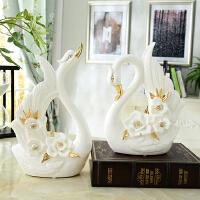 欧式创意陶瓷天鹅摆件实用一对客厅电视柜酒柜家居装饰品结婚礼物抖音 天鹅一对