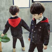 男宝宝牛仔外套加绒连帽加厚冬季小童2-5岁儿童夹棉男时尚冬韩版3