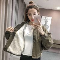 羊羔毛牛仔棉衣服短外套女装加绒加厚韩版休闲学生秋冬季2018新款