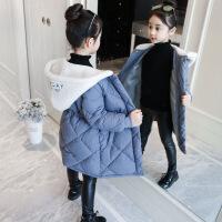 女童冬装新款中大童儿童棉袄中长款洋气冬季加厚棉衣外套 蓝色 120cm建议身高115cm左右