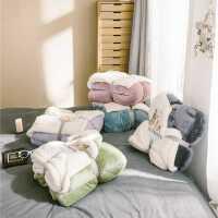 北欧纯色多功能仿羊羔绒毛毯冬季加厚保暖法莱绒单双人盖毯子被套