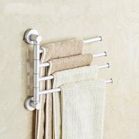 旋转毛巾架免打孔太空铝卫生间浴室置物架可折叠活动毛巾杆双挂杆