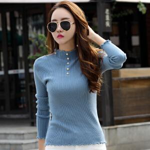 长袖毛衣女韩版秋冬新款毛衣半高领套头内搭木耳边针织打底衫
