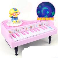 儿童电子琴早教音乐玩具1初学者宝宝启蒙钢琴男女孩3-5-6岁乐器早教益智玩具 公主粉 啵乐乐旋转钢琴