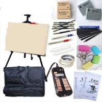 初学者素描套装工具绘画素描纸本铅笔画架画板画袋 21件素描套装。