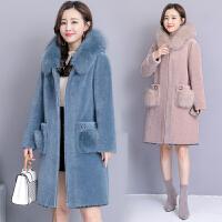 大毛领皮草外套羊剪绒大衣女中长款冬2018新款韩版外套