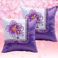 精准印花十字绣汽车抱枕一对紫藤之恋卧室沙发枕抱枕套车枕