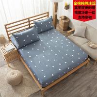 床笠单件全棉全棉1.8m米床床套保护套床垫套防尘罩席梦思床罩定制 银色 爱巢 枕套一对