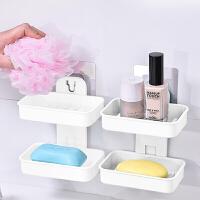 双层肥皂盒 创意香皂盒浴室置物架双格沥水肥皂架皂托 白色