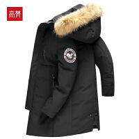 【限时1件3折到手价:439元】高梵新款中长款连帽羽绒服男黑色中青年毛领加厚保暖外套