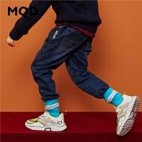 【1件3折:150】MQD童装男童牛仔裤加厚2019冬季新款中大童直筒裤儿童保暖牛仔裤