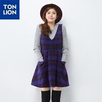 唐狮2015冬(TonLion)女格子呢无袖收腰连衣裙 615421104406