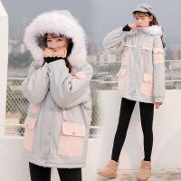 冬季新款韩版大毛领棉衣bf学生连帽工装加厚宽松棉袄外套女潮 灰色有毛领 S