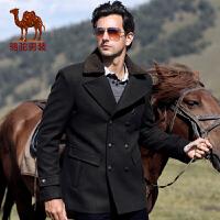 骆驼男装 秋装新款男士双排扣中长款休闲大衣 男士纯色外套